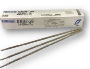 ลวดเชื่อมไฟฟ้ามีสารพอกหุ้มใช้ เชื่อมเหล็กกล้าไม่เจือและ เกรนละเอียดด้วยการเชื่อมอาร์กโลหะด้วยมือ FAMILIARC KOBE-30 เส้นผ่านศูนย์กลาง 2.6x350 มิลลิเมตร ขนาดบรรจุ 2 กิโลกรัม