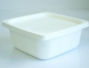 กล่องพลาสติกบรรจุภัณฑ์อาหาร สี่เหลี่ยมจัตุรัส 16 ออนซ์ สีขาว พร้อมฝา
