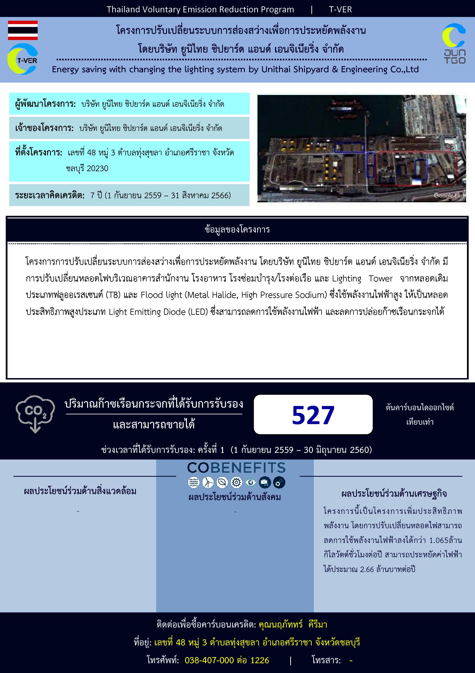 โครงการปรับเปลี่ยนระบบการส่องสว่างเพื่อการประหยัดพลังงาน โดยบริษัท ยูนิไทย ชิปยาร์ด แอนด์ เอนจิเนียริ่ง จำกัด